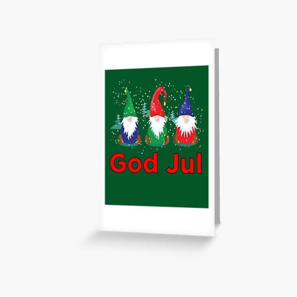 God Jul Tomte Nisse Gnomes Scandinavian Merry Christmas Greeting Card