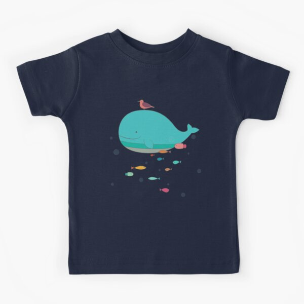 Childrens Short-Sleeved T-Shirts Fantasy Whale Rainbow Tail for Boys and Girls