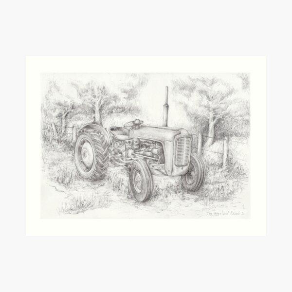 Massey Ferguson 35 tractor drawing Art Print