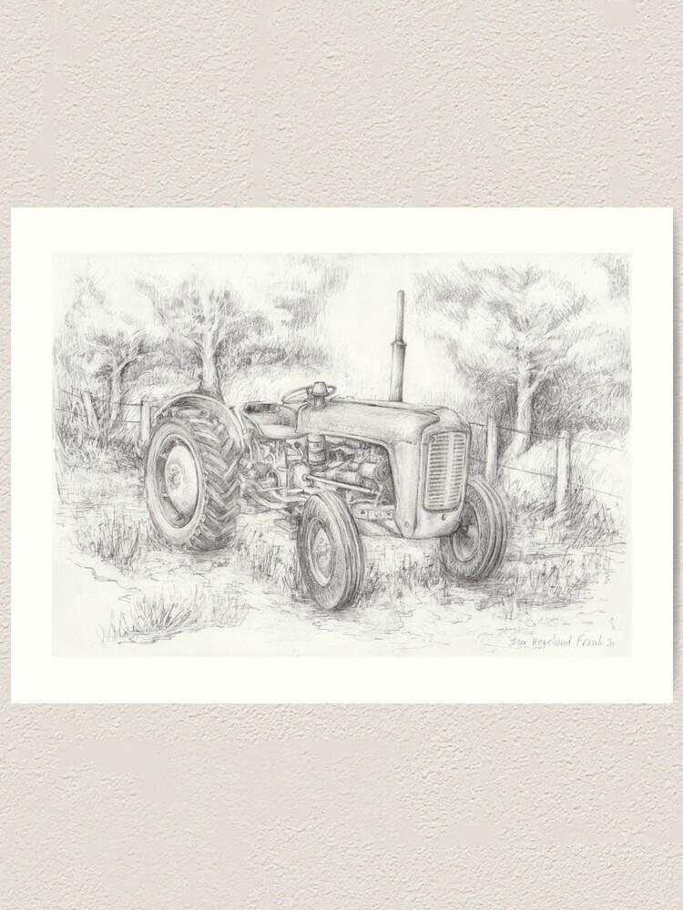 Alternate view of Massey Ferguson 35 tractor drawing Art Print
