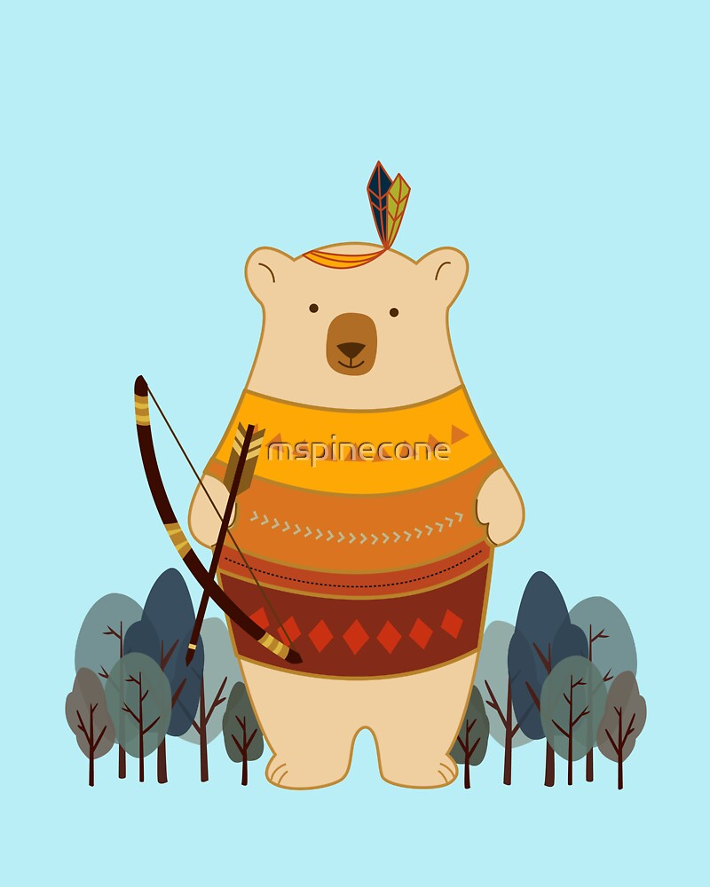 Brave Indian Bear by mspinecone