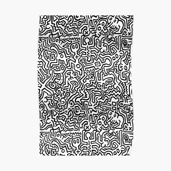pattern black and white Poster