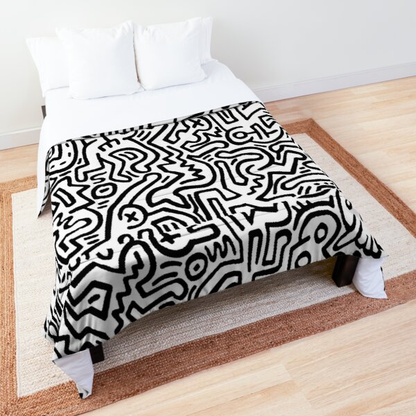 Keith haring pattern black and white Comforter