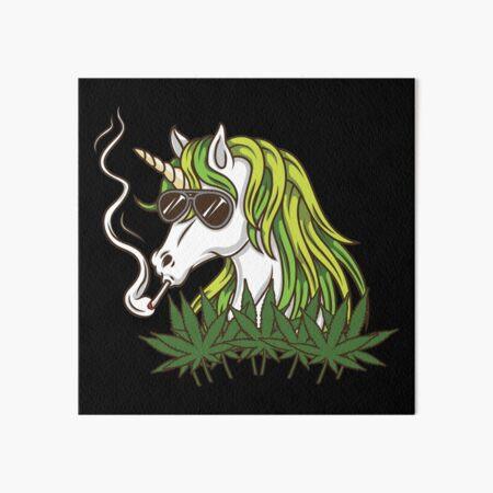 Cool Unicorn Smoking Weed - Marijuana Leaves Art Board Print