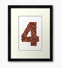 Number four. Coffee background Framed Print