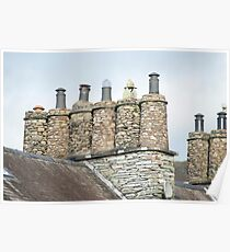 Cylindrical stone chimney pots Poster