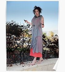 girl in a red dress with a new gray cloak Poster