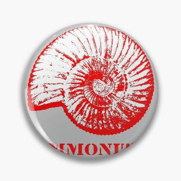 Ammonite Préhistorique Rouge Blanc Badge