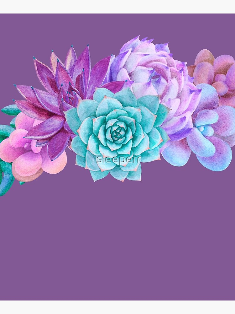 Watercolor bouquet with purple succulents by sleeperr