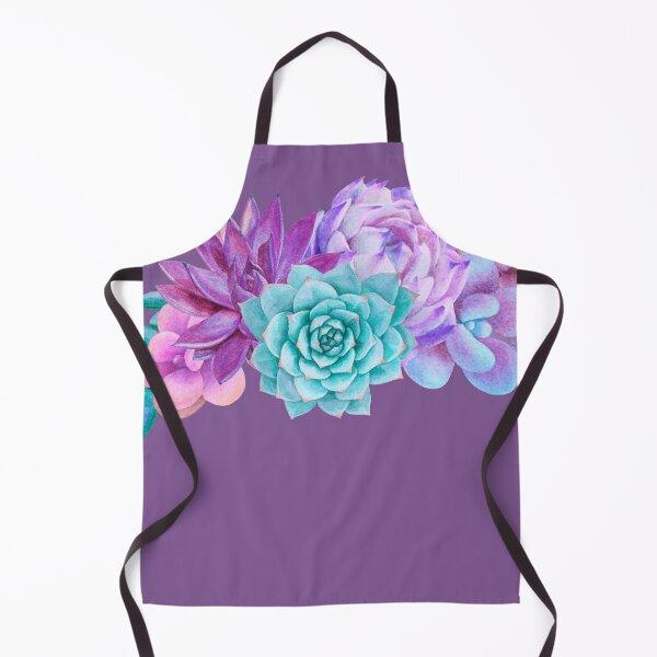 Watercolor bouquet with purple succulents Apron