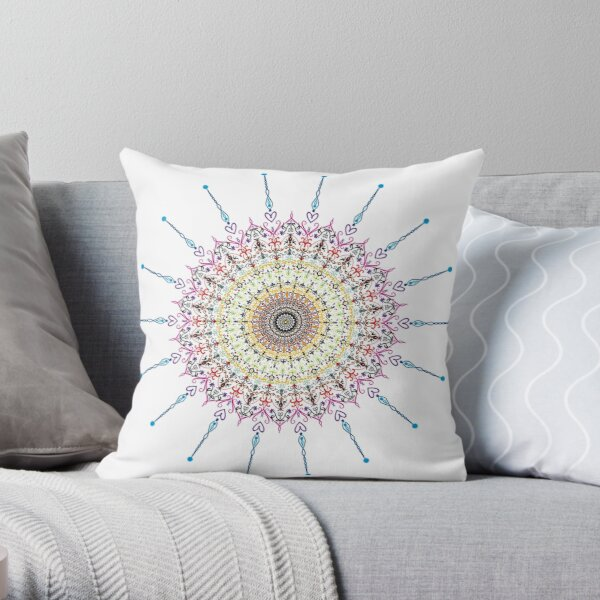 Spiky colored mandala Throw Pillow