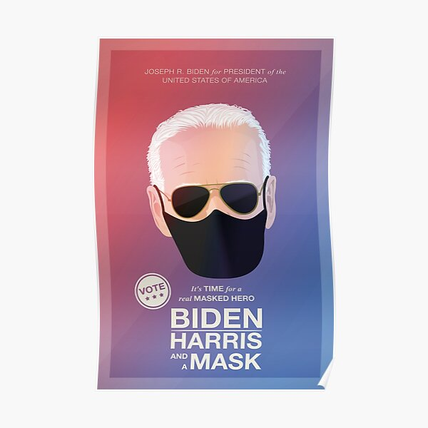 BIDEN HARRIS and a MASK (red) Poster