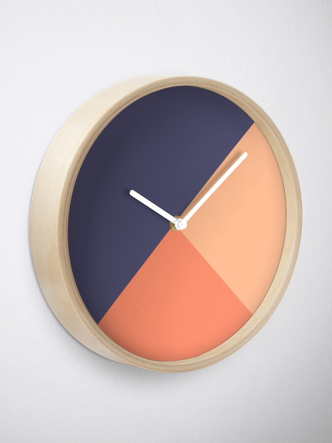 Alternate view of Geometric Blue Salmon Clock