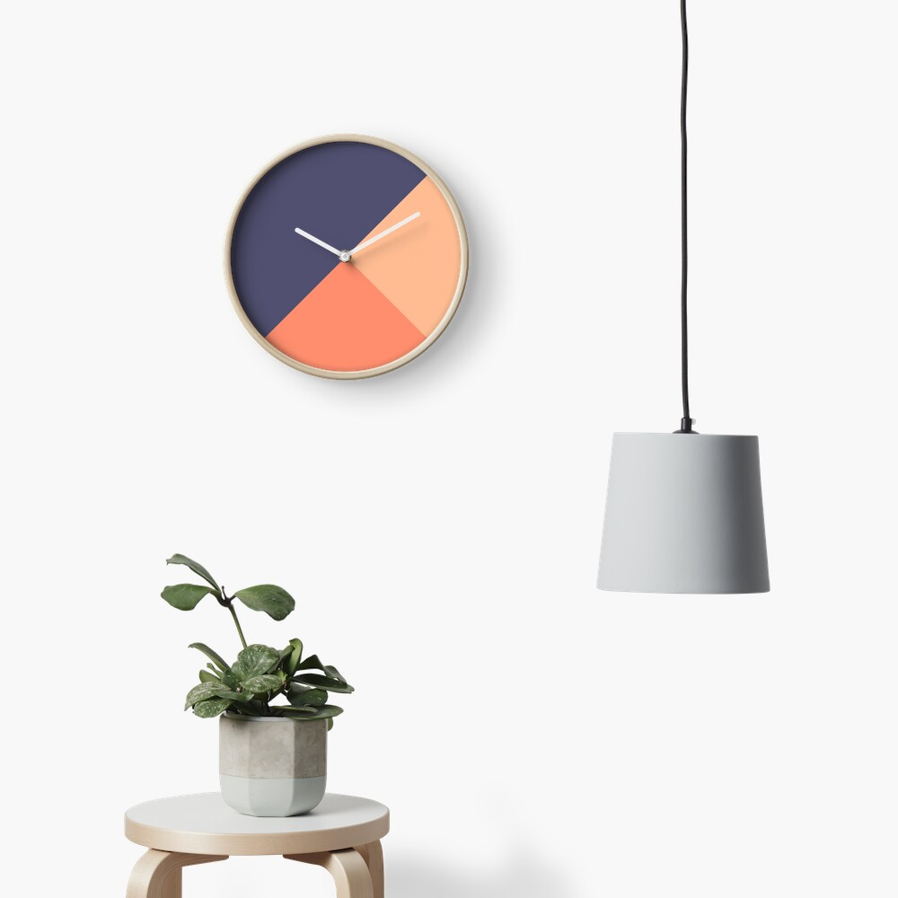 Geometric Blue Salmon Clock
