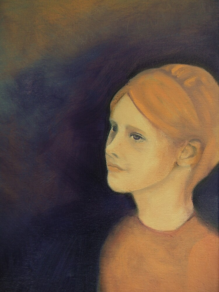 Girl with Ginger Gold Hair with Purple Background by Sue Neale