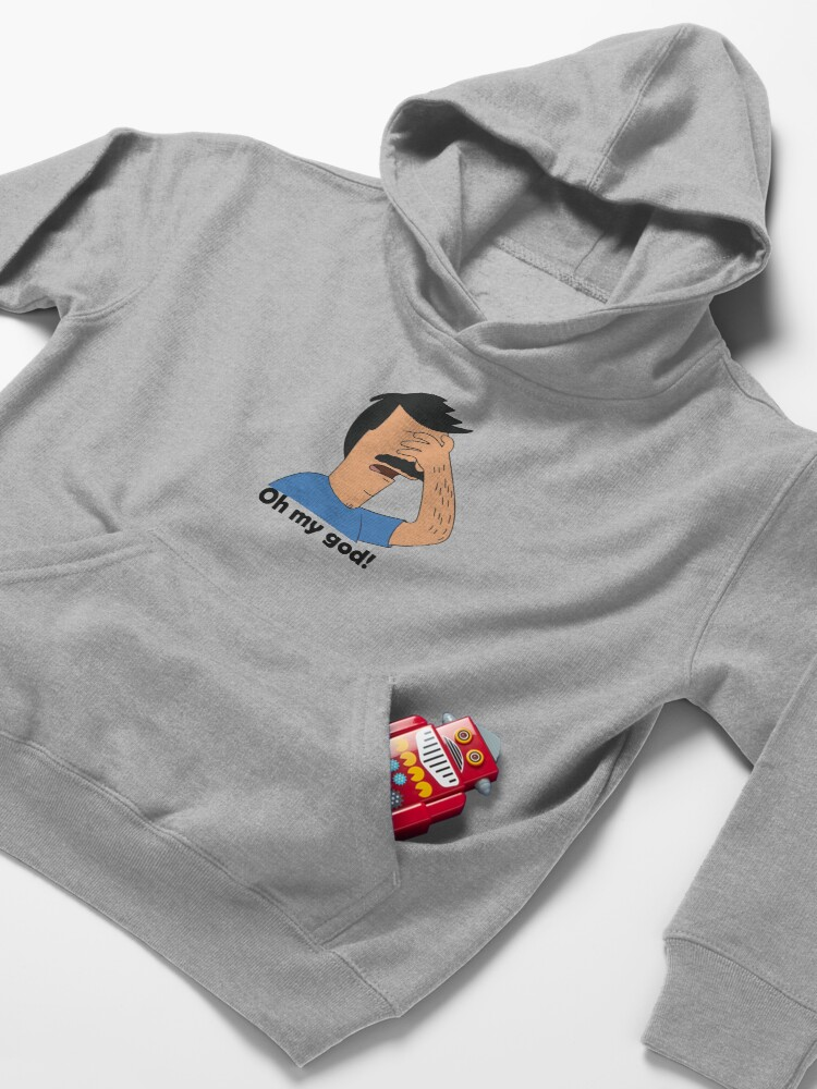 Alternate view of oh my god bob is in trouble slim fit T shirt  Kids Pullover Hoodie