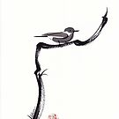 LITTLE FRIEND - Sumie ink brush pen painting of a bird by Rebecca Rees