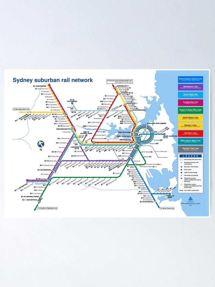 Alternate view of Sydney Suburban Railway Diagram - 2000 Style Poster