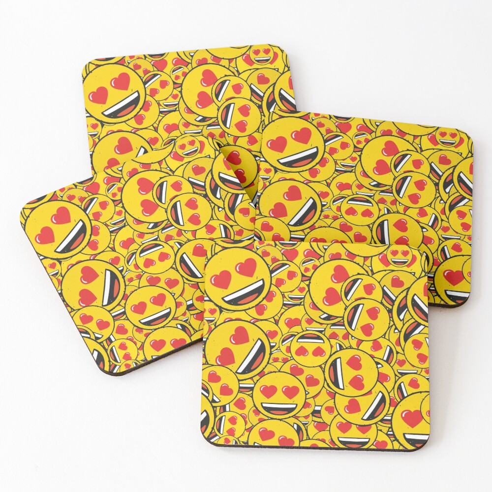 smiling face with heart eyes pattern Coasters (Set of 4)
