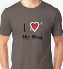 i love my dog heart Slim Fit T-Shirt