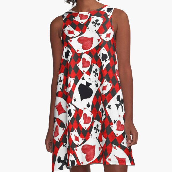 Playing Cards Pattern A-Line Dress