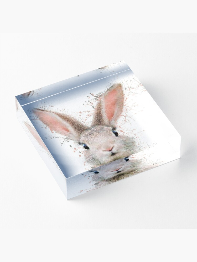 Alternate view of Rabbit watercolor animals nursery decor Acrylic Block