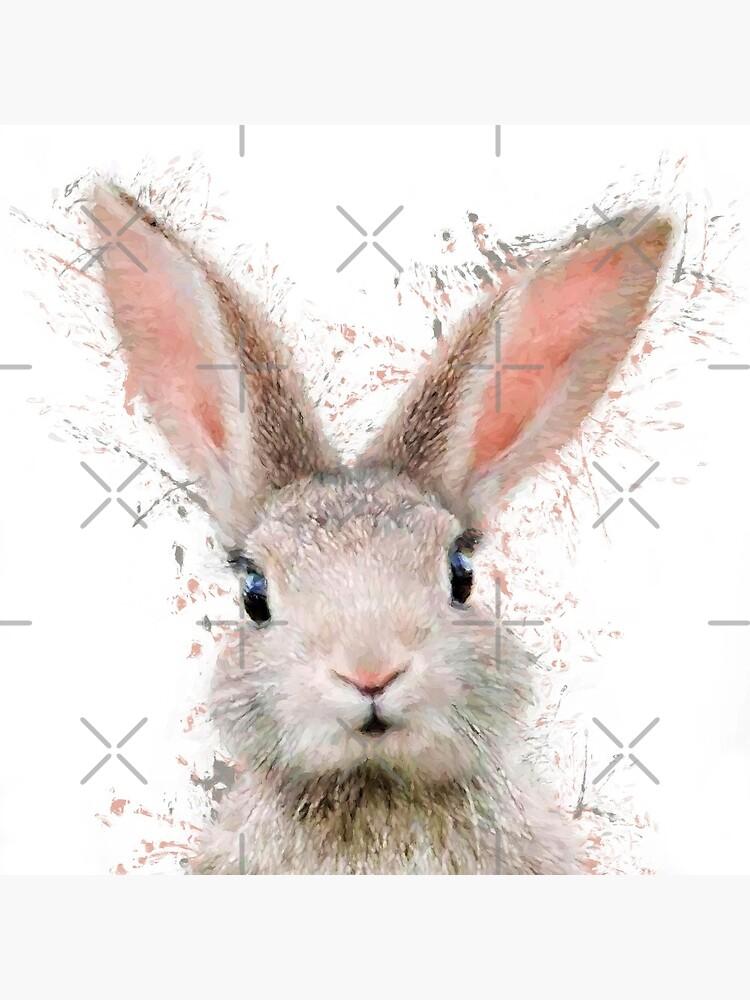 Rabbit watercolor animals nursery decor by DelzStudio