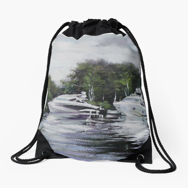 White cabin cruiser boats moored in a rural location Drawstring Bag