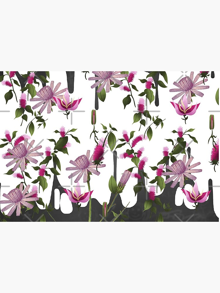 Happy Floating Pink Flowers Print by bowiebydesign