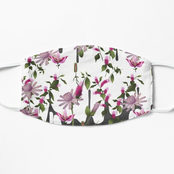 Happy Floating Pink Flowers Print Flat Mask