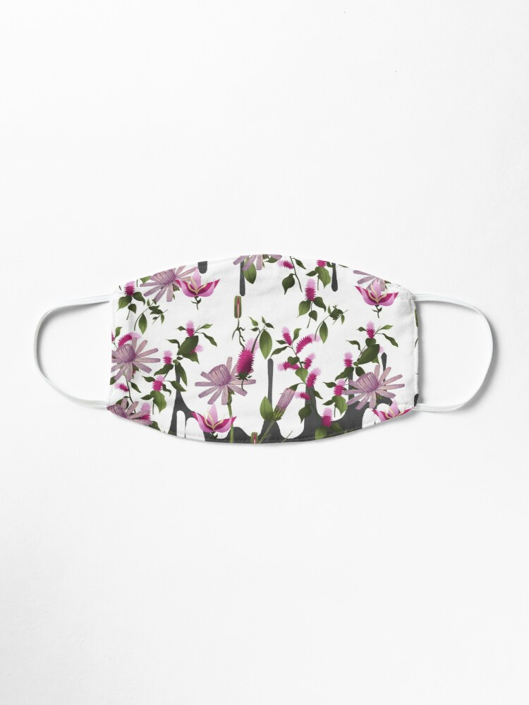 Alternate view of Happy Floating Pink Flowers Print Mask