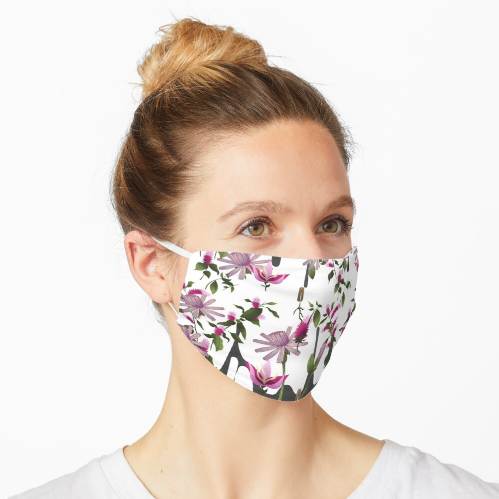 Happy Floating Pink Flowers Print Mask