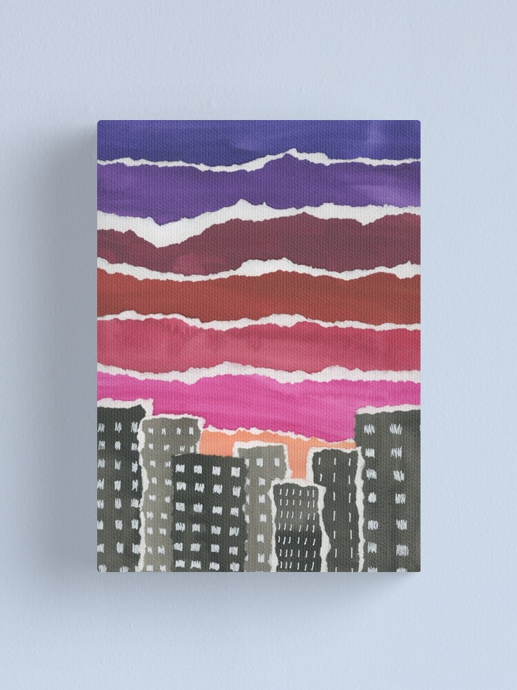 Alternate view of Sunset Night Sky Gouache Painting Collage Canvas Print