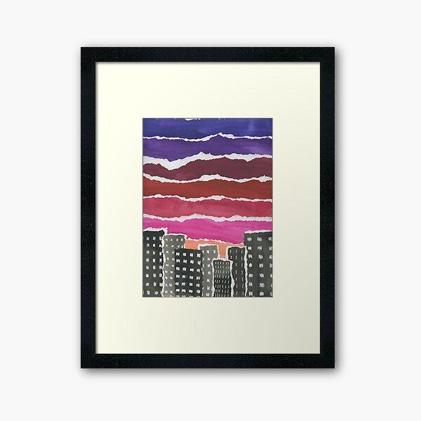 Sunset Night Sky Gouache Painting Collage Framed Art Print