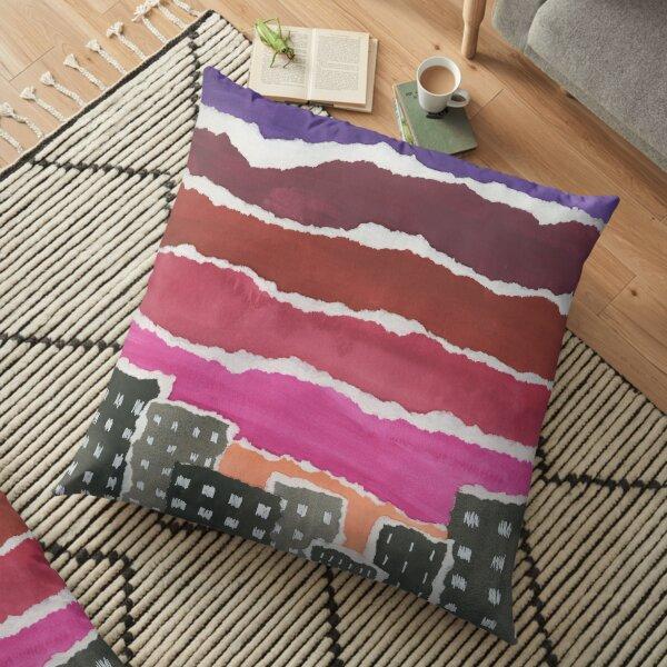 Sunset Night Sky Gouache Painting Collage Floor Pillow
