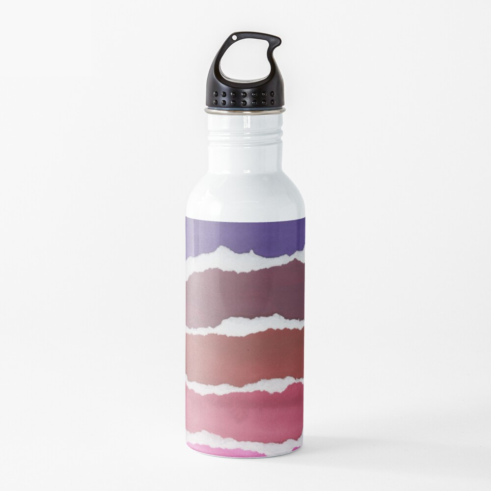 Sunset Night Sky Gouache Painting Collage Water Bottle