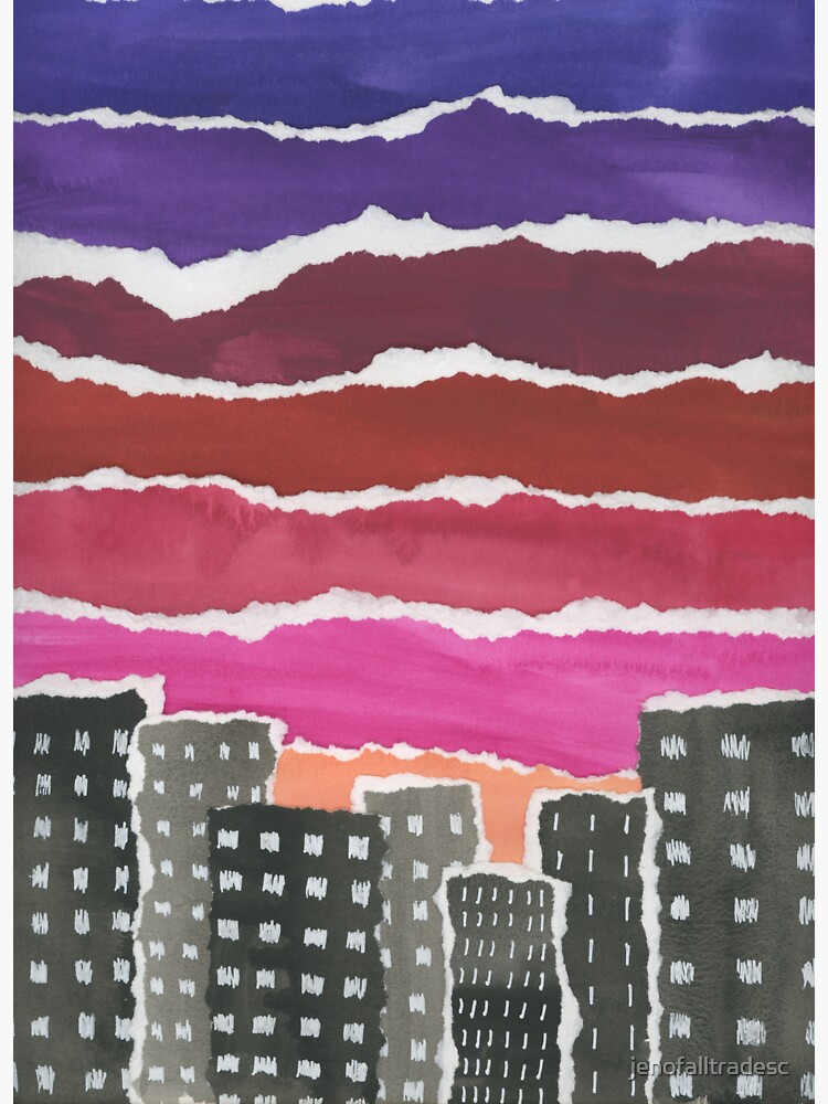 Sunset Night Sky Gouache Painting Collage by jenofalltradesc