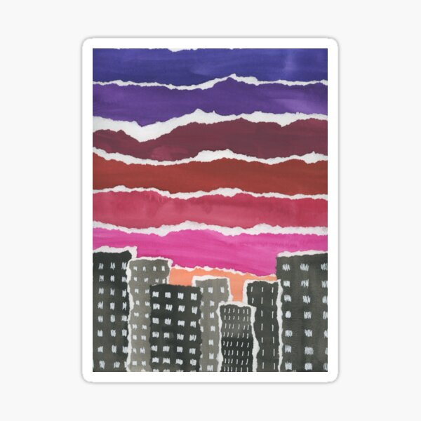 Sunset Night Sky Gouache Painting Collage Sticker