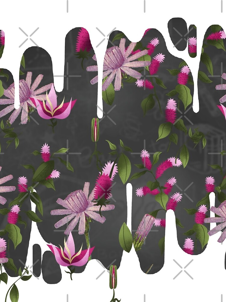 Inverted Happy Floating Pink Flowers Print by bowiebydesign