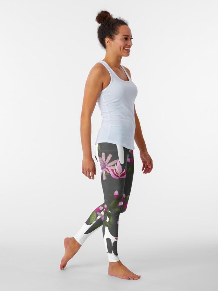 Alternate view of Inverted Happy Floating Pink Flowers Print Leggings