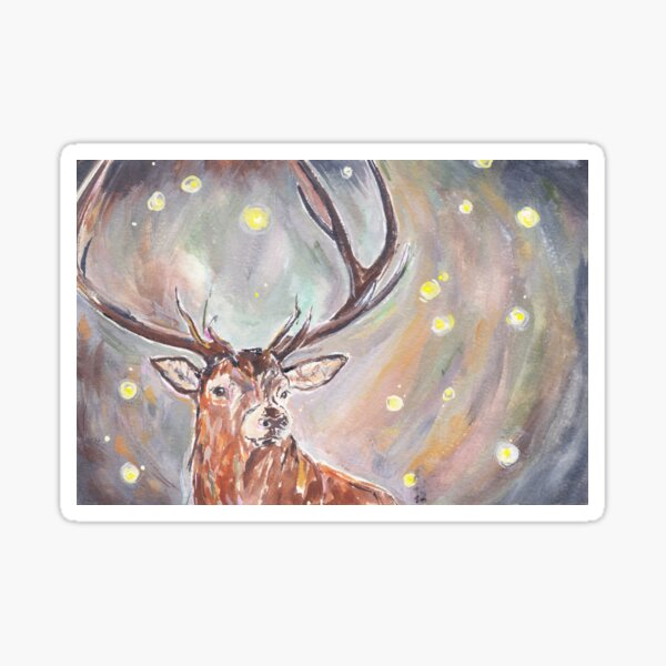 Firefly Stag Painted Portrait Sticker