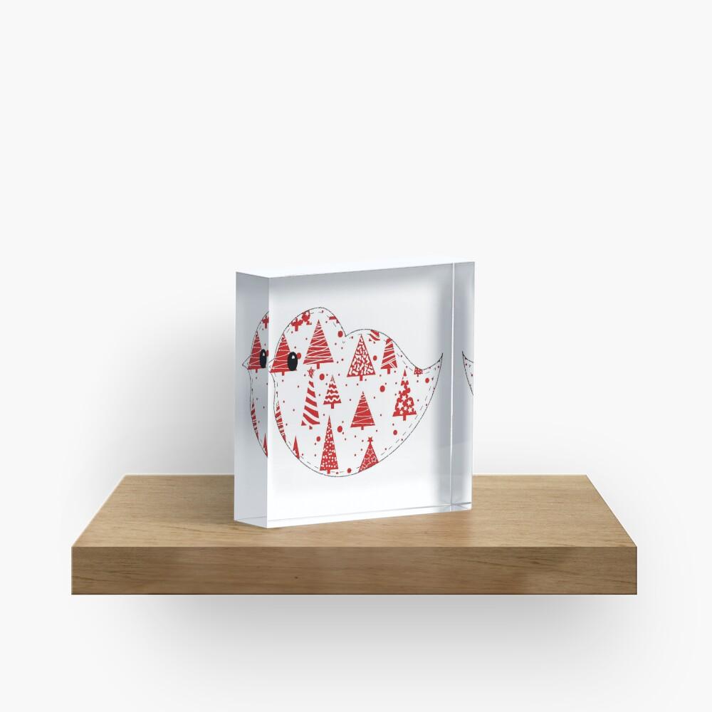 Christmas Robin  Acrylic Block