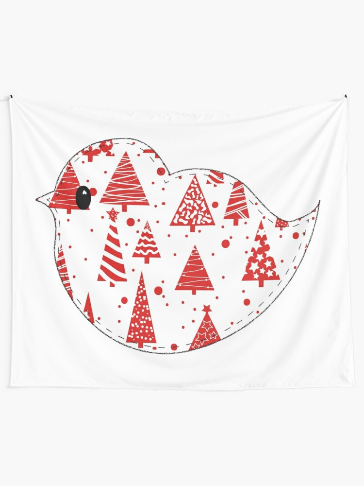 Alternate view of Christmas Robin  Tapestry