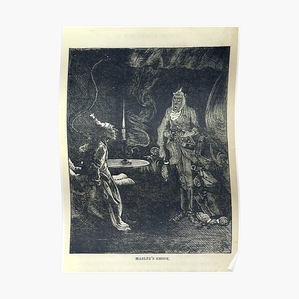 """""""Marley's Ghost"""" Vintage Illustation of """"A Christmas Carol"""" by Charles Dickens"""" (1886) Poster"""