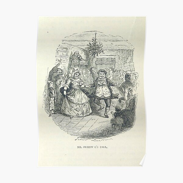 """""""Fezziwig's Ball"""" Vintage Illustration of """"A Christmas Carol"""" by Charles Dickens"""" (1886) Poster"""