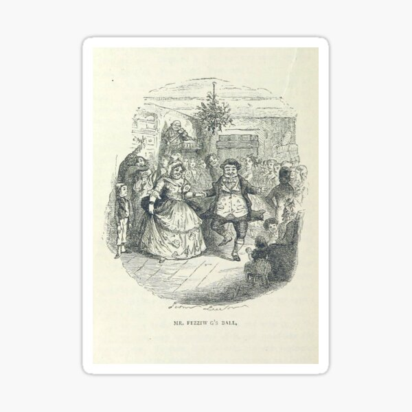 """""""Fezziwig's Ball"""" Vintage Illustration of """"A Christmas Carol"""" by Charles Dickens"""" (1886) Sticker"""