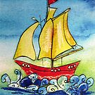 Cartoon sailboat  by artistpixi