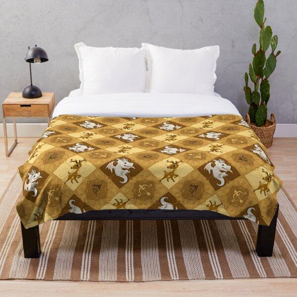Golden Deer Gingham Throw Blanket