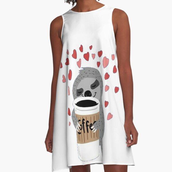 Perezoso le gusta cafe Vestido acampanado
