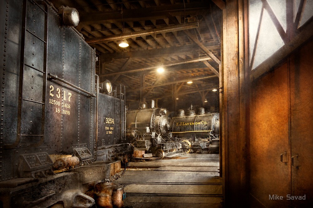 Train - Ready in the roundhouse by Michael Savad